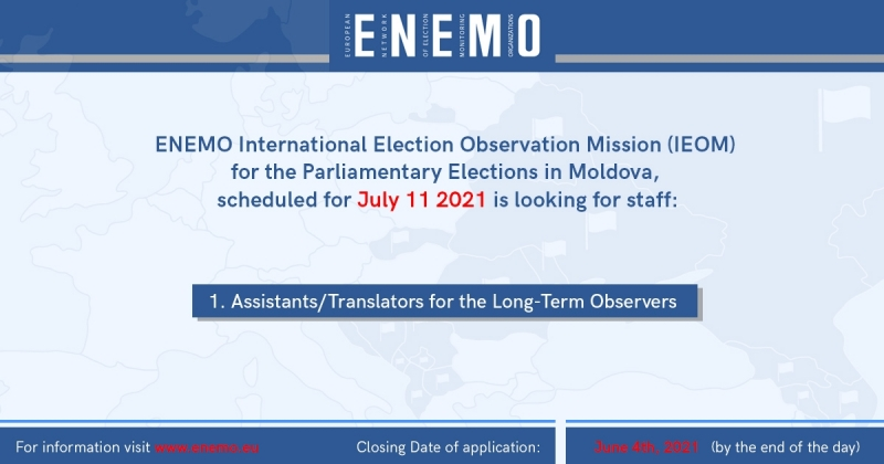 IEOM to Moldova 2021 - Vacancy announcement for Assistants/Translators for the Long-term Observers