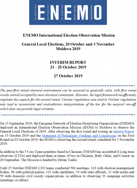 ENEMO IEOM to Moldova 2019 publishes the Second Interim Report