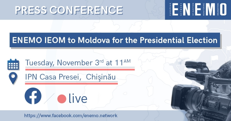 ENEMO IEOM to Moldova for the Presidential Elections of 1 November 2020 will organize a press conference on Tuesday, 3 November