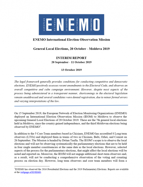 ENEMO IEOM to Moldova publishes the First Interim Report