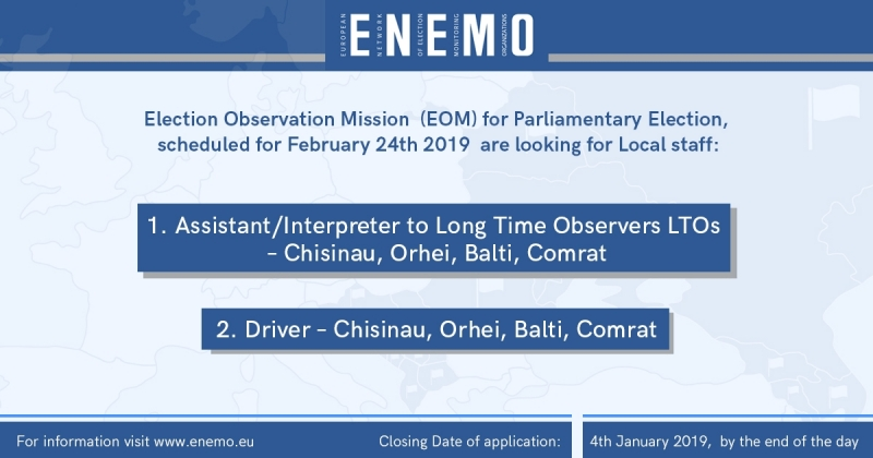 EOM to Moldova - Assistant/Driver Vacancies
