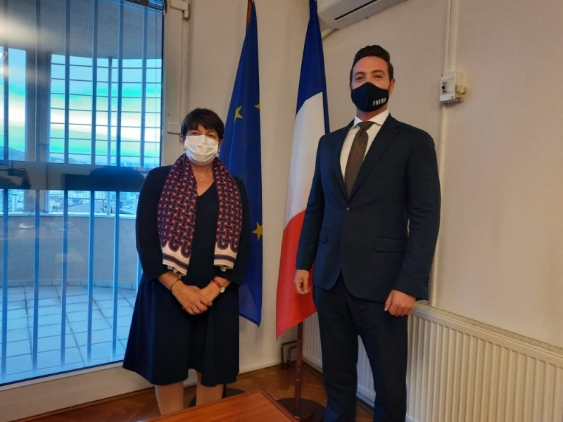 ENEMO Head of Mission Mr.Pierre Peytier met with her Excellency Mrs. Marie-Christine Butel, Ambassador of France in Kosovo