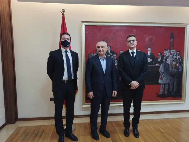 ENEMO Head of Mission Dr. Gianluca Passarelli and Deputy Head of Mission Pierre Peytier met with the President of Albania Mr. Ilir Meta