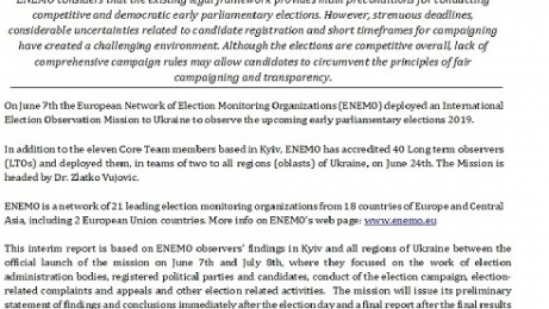 ENEMO IEOM to Ukraine publishes the first interim report for observation of Early Parliamentary Election