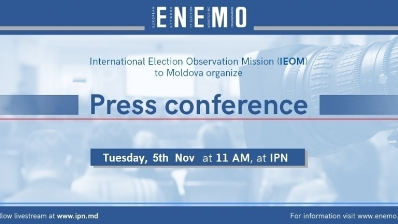 ENEMO IEOM to Moldova will organize a press conference on Tuesday, 05 Nov, 2019 to present its Preliminary Statement